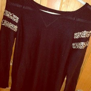 Black with Gold Sequins Sweater - Urban Outfitters